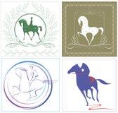 Cavalieri e cavalli in quattro opzioni grafiche Fotografie Stock Libere da Diritti
