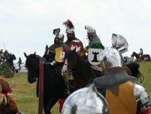 Cavalieri sulla ricostruzione della battaglia di Grunwald Immagini Stock Libere da Diritti