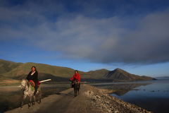 Cavalieri tibetani Fotografie Stock