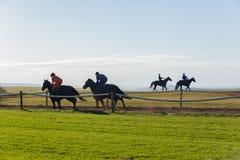Cavaliers de cheval de course courant la voie de formation Photos libres de droits
