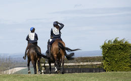 Cavaliers de cheval sur un tour d'amusement Photo libre de droits