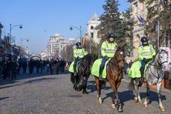Cavaliers de police locale dans l'uniforme et le casque verts Images libres de droits