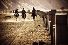 Cavaliers montant dans le désert, retournant pour autoguider Photos stock