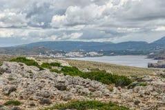 Cavalleria灯塔视图 巴利阿里群岛menorca西班牙 免版税库存图片