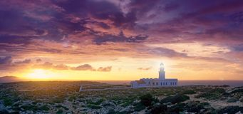 cavalleria lighthouse on the coast of Minorca Royalty Free Stock Photography