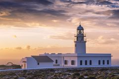 cavalleria lighthouse on the coast of Minorca Royalty Free Stock Photo