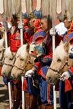 Cavalleria mongola con i cavalli Immagini Stock Libere da Diritti