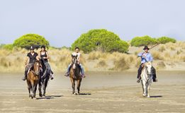 Cavallerizzi sulla spiaggia Immagini Stock