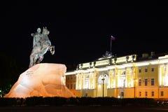Cavallerizzo Bronze - monumento a Peter grande Fotografie Stock