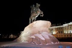 Cavallerizzo bronzeo in San Pietroburgo, Russia Fotografie Stock Libere da Diritti