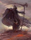Cavallerizzo dell'apocalisse, scytheman Fotografie Stock