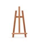 Cavalletto di legno del pittore isolato su bianco Fotografia Stock Libera da Diritti