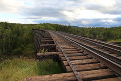 Cavalletto di legno del treno Fotografie Stock
