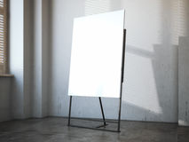Cavalletto nero con tela bianca in sottotetto moderno rappresentazione 3d Fotografia Stock Libera da Diritti