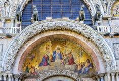 Cavalli antichi St Mark & x27 del mosaico di resurrezione di Cristo; chiesa VE di s Immagine Stock