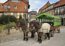 Cavalli con un carrello; Wernigerode, Graz, Germania Fotografia Stock Libera da Diritti