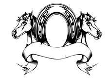 Cavalli delle teste e pattino del cavallo Immagini Stock Libere da Diritti