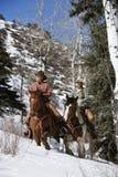 Cavalli di guida della donna e dell'uomo nella neve Fotografia Stock Libera da Diritti