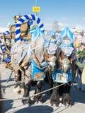 Cavalli di Haflinger che tirano i barilotti di birra a Oktoberfest Immagini Stock Libere da Diritti