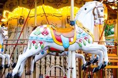 Cavalli di legno di girotondo d'annata Fotografia Stock Libera da Diritti