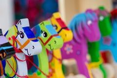 Cavalli di legno su una stalla del mercato Fotografia Stock Libera da Diritti