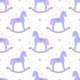 Cavalli a dondoli blu svegli di vettore isolati su fondo bianco Modello senza cuciture del giocattolo del bambino Fotografie Stock