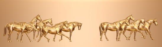 Cavalli dorati Fotografie Stock Libere da Diritti