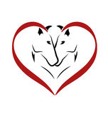 Cavalli nel logo di amore Fotografia Stock