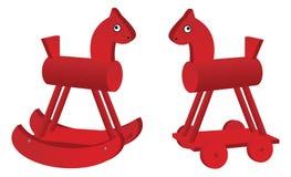 Cavalli rossi del giocattolo Fotografie Stock Libere da Diritti