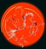 Cavalli rossi (vettore) Immagine Stock Libera da Diritti