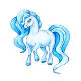 Cavallino azzurrato divertente Piccola illustrazione dell'acquerello del cavallo Immagini Stock Libere da Diritti