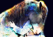 Cavallo amoroso e una ragazza, ragazza che abbraccia un cavallo nello spazio cosmico collage del computer royalty illustrazione gratis