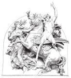 Cavallo antico dell'illustrazione di vettore con il cavaliere Immagine Stock