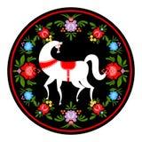 Cavallo bianco della pittura di Gorodets ed elementi floreali Russo Natio Immagine Stock Libera da Diritti