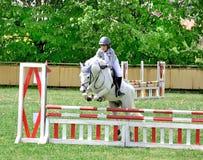 Cavallo bianco di guida del giovane ragazzo Immagini Stock Libere da Diritti