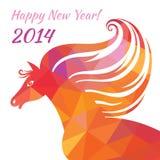 Cavallo - buon anno. Illustrazione astratta delle forme geometriche. Fotografia Stock Libera da Diritti