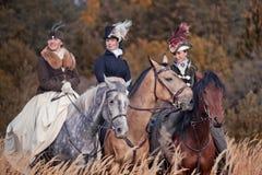 Cavallo-caccia con i cavalieri nell'abitudine di guida Immagine Stock