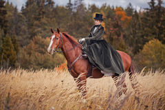 Cavallo-caccia con i cavalieri nell'abitudine di guida fotografia stock libera da diritti