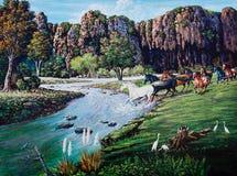Cavallo che attraversa il fiume di pittura a olio immagini stock