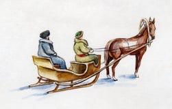 Cavallo che sledging Fotografie Stock Libere da Diritti