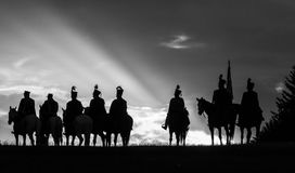 Cavallo con gli uomini Fotografie Stock