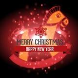 Cavallo con il Natale fondo ed il vettore della cartolina d'auguri Royalty Illustrazione gratis