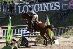 Cavallo con il salto del cavaliere Fotografia Stock Libera da Diritti