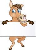 Cavallo con il segno in bianco Fotografie Stock