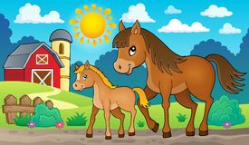 Cavallo con l'immagine 2 di tema del puledro Immagini Stock Libere da Diritti