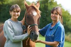 Cavallo d'esame del veterinario femminile nel campo con il proprietario fotografia stock