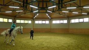 Cavallo da equitazione del ragazzo del bambino del movimento lento dell'interno video d archivio