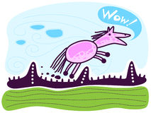 Cavallo da equitazione rosa, wow! Fotografia Stock