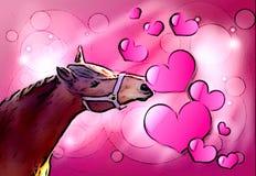 Cavallo del biglietto di S. Valentino Immagini Stock Libere da Diritti