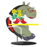 Cavallo del fumetto che si siede sulla sedia con i fiori 013 Immagine Stock